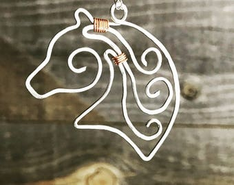 Scrolled Horse Head Necklace