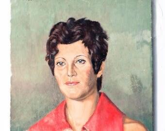 Vintage Oil Painting Woman's Portrait, 70's Lady Portrait, French Female Painting, Mod Portrait, Realist Art, Mid-century Fine Art
