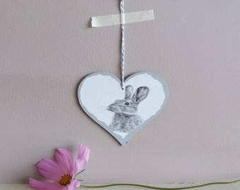 rabbit heart decoration | heart | rustic heart decoration | rabbit illustration