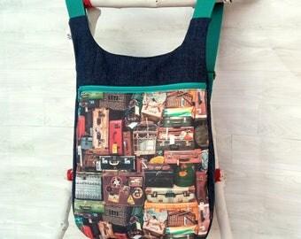 Mochila mujer estampado maletas vintage: Mochila de tela - Mochila original - Mochila urbana - Mochila tejana vintage - Mochila para viajar