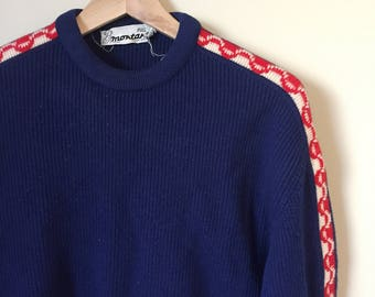 Vintage 1960's French Wool Ski Sweater / Pull Montant