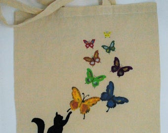 "Tote bag ""Cat with butterflies"", cotton bag, reusable bag, eco bag, shopping bag, shopper bag, shoulder bag"