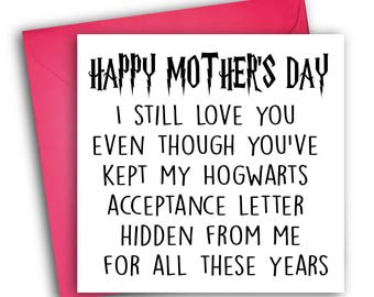 Funny Harry Potter Card | Mother's Day Card | Hogwarts
