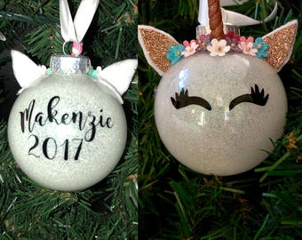 Unicorn Ornament, Personalized, Christmas Ornament, Unicorn Christmas Ornament, Christmas Gift, Christmas Decorations, Glitter Unicorn