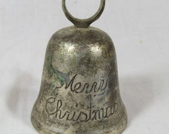 Vintage Merry Christmas Bell Silver Plate International Silver Company