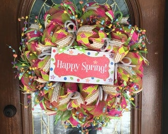 Spring Deco Mesh Holiday Wreath Decor for Front Door