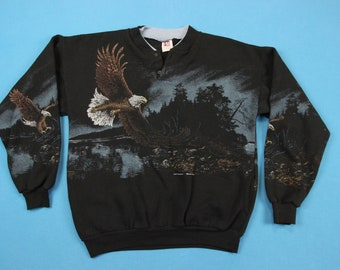 90s Bald Eagle Sweatshirt ~ L // Vintage, Art Unlimited, All Over, Pattern, Henley, 1990s, Scenic, Wildlife, Outdoors, Pullover, Large