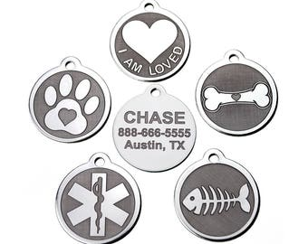 Stainless Steel Custom DEEP Engraved Designer Pet ID Tags Personalized for Dogs and Cats
