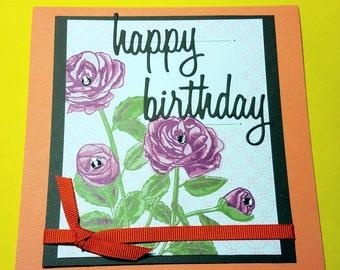 Happy Birthday Handmade Card- Girl Birthday Card- Friend Card For Her- Women Birthday Card- Petal Garden Card- Greeting Card
