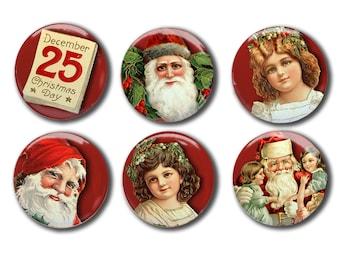 Vintage Christmas Magnet Set   Santa magnet   December 25   Merry Christmas magnets   Holiday Decor   Stocking Stuffer