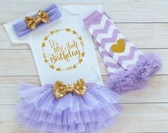 6 Month Birthday Bodysuit, Baby Half Birthday Shirt, Cake Smash Outfit, Half Birthday Outfit Girl, 1/2 Way To One Shirt, Half Birthday Girl