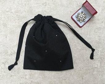 Black with Rhinestones - reusable bags - zero waste smallbags