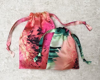 smallbags printed silk peonies - 2 sizes - reusable bags - zero waste