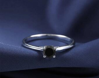 Round Cut Black Diamond Engagement Ring 14k White Gold or Yellow Gold Diamond Ring Art Deco Anniversary Ring