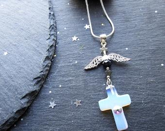 Guardian Angel Necklace, Opalite Cross Necklace, Cross Jewelry, Opalite Gemstone, Gift for Her, Religious Necklace, Angel Jewellery, Cross