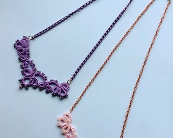 Tatting lace necklace with beads // Tatted necklace with beads