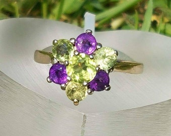 Amethyst & Peridot Suffragette Gold Ring