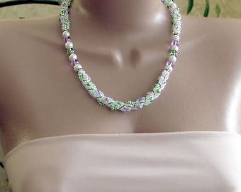 Beaded rope necklace with pearls, green and purple beaded rope, pastel colors rope necklace, green rope necklace, soft colors rope necklace