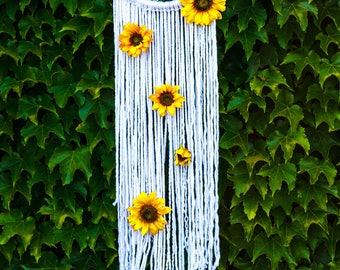 Sunflower Dreamcatcher- Bohemian- Boho Decor- Floral- Wall Hanging- Dream Catcher- Sun Flower- Home Decor