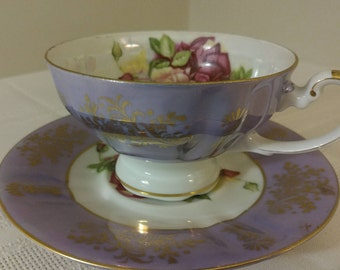 Cup & Saucer - Royal Halsey China - Purple Iridescent with Roses