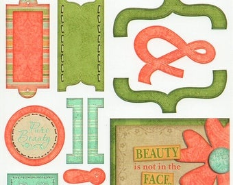 Beauty Titles Tags Borders Bo Bunny  Cardstock Scrapbook Stickers Embellishments Card Making