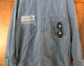 90's Bugle Boy Aviator Parachute Shirt Surplus Style Skate Button Down 90's Chambray Shirt Size XL