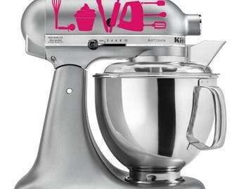 Baking Love Decal - Baking Decal - Cupcake Decal - Bakery Window Decal - Mixer Decal - Gift for Baker - Baker's Love Decal - Cake Shop Decal