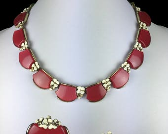 Vintage Jewelry Set-Parure-red-white-elegant-flower-necklace & Earrings-1960s-mid century-Mad Men-gift-