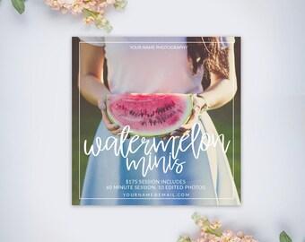 Watermelon Mini Session Template | Summer Mini Session Template | Photography Template | Photographer Resources