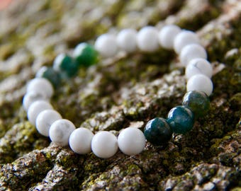 Howlite with Moss Agate Accents Crystal Bead Mala Bracelet White Green Mala Bead Bracelet White Green Mala Bead Bracelet Crystal Healing