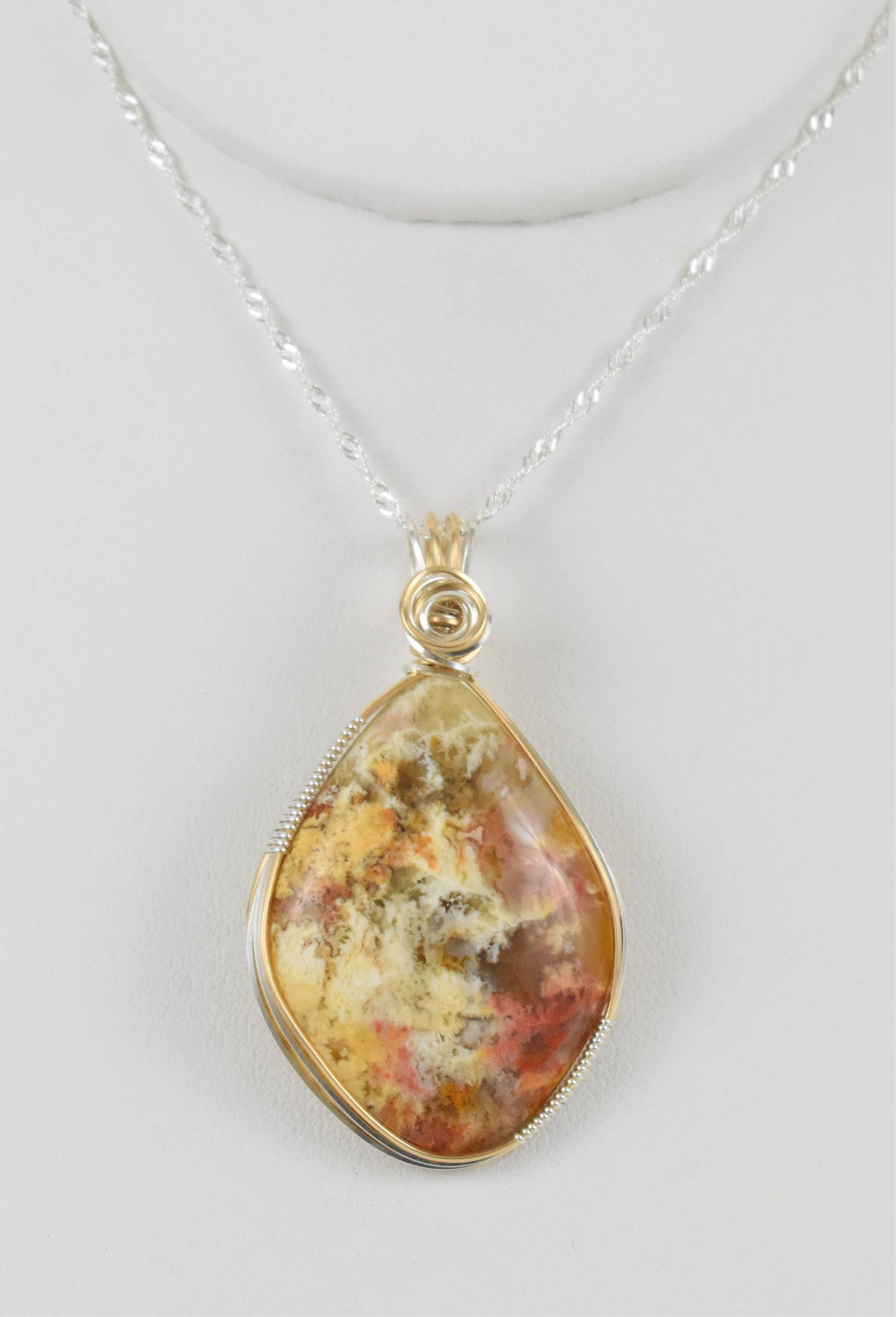 Stunning Regency Rose Plume Agate Wire Wrapped Pendant-Wrapped in ...
