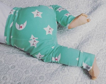 Stars Baby leggings Moons Mint Green Hipster toddler Baby Organic gender neutral baby Unisex Hand Made Organic baby gift Ethical baby gift