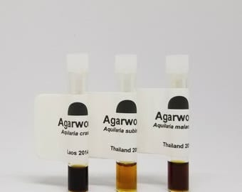 Oud Oil Sampler Set of 3 Rare Agarwood oils High Quality Fine steam distillations Connoisseur Quality