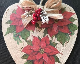 Large Wooden Heart Hanger - Christmas Poinsettia