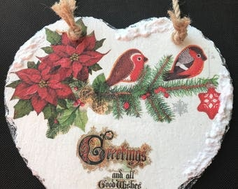 Large Natural Slate Heart Hanger - Christmas Birds and Greeting