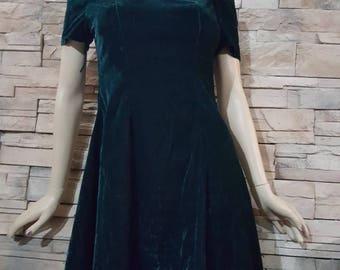 Dark green velvet dress