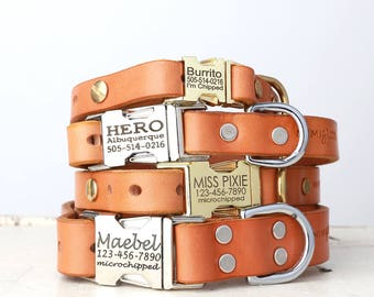 Personalized Engraved Buckle Tan Leather Dog Collar -- Classic Side Release Style