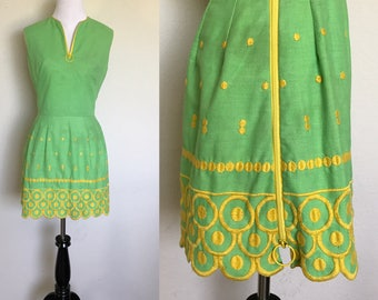 Go-Go Dress | 1960s Vintage Mel Warshaw Miss Jane Miami Lime Green Zippered Mod Mini Dress | Size S/M