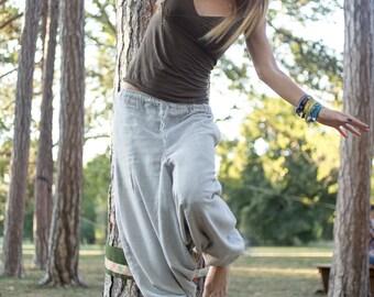 Hemp Hippie Harem Pants Plain Grey Loose Yoga Aladdin Trousers Genie Drop Crotch Gypsy Baggy Pockets Festival Maternity Belly Dance
