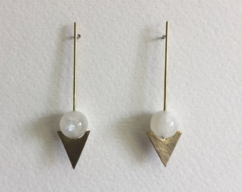 Moonstone & Arrow Earrings