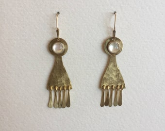 Mother of Pearl Earrings with Fringe
