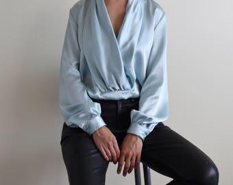 light blue drape front textured blouse / satin blouse / silky blouse / v front blouse / us6