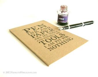 NaNoWriMo Journal Notebook   Pen Ink Paper Dumas Quote   Bookish Gift for Writer, Office Desk Essentials   Ruled or Dot Ecofriendly Journal
