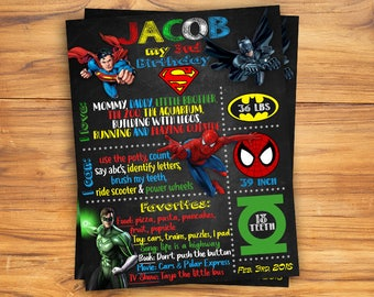 Superhero Chalkboard Poster/ Status Board / Superhero Avenger Birthday  / Avenger Chalkboard Poster / Birthday Poster / Chalkboard Sign
