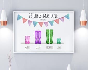Family Wellington Boot Personalised Print, Digital Download, Welly Print, Welly Boot Family Print, Anniversary Gifts, Custom Christmas Gifts