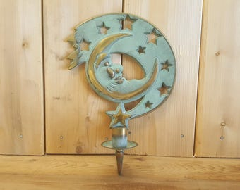 Vintage Partylite 90s Moon and Stars Wall Hanging Candle Holder Sconce Gold Tone Metal Painted Mint Green Boho Bohemian Hippie Home Decor
