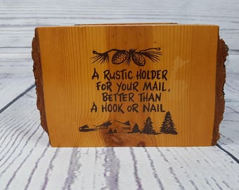 Vintage Rustic Mail Holder Organizer Wood Log Entryway Organizer Sorter Cottage and Country Chic