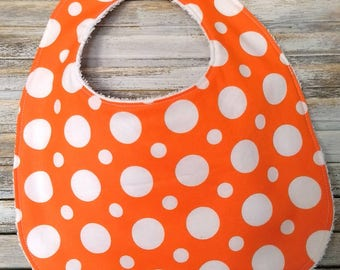 Baby Bib, Fun playful Baby Gift, Baby Shower Idea, Orange and White Polka Dots, Terry Cloth Drool Bib, Gender Neutral, Unique Gift, spotty