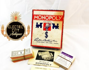 Early 1936 Monopoly Game w/o game board