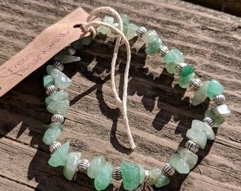 Green Aventurine Beaded Bracelet with Leaf Charm